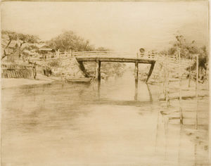 Mortimer Luddington Menpes - Une voie d eau tranquille, Japon