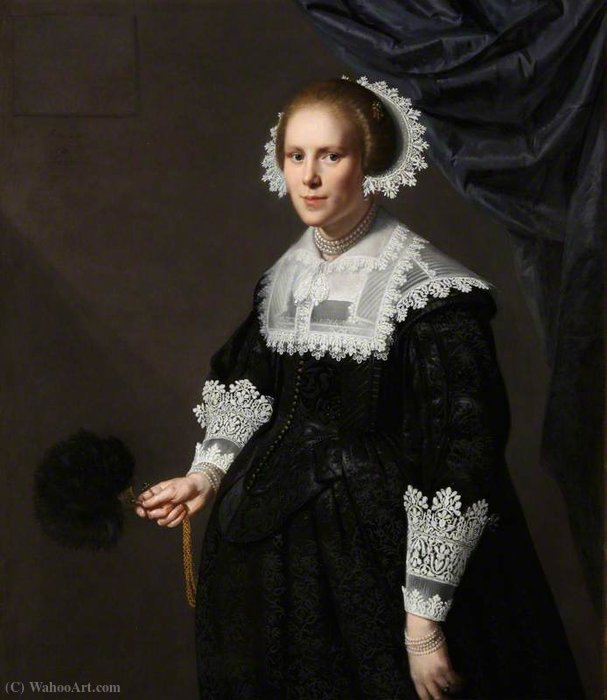 Portrait d un inconnu Lady de Paulus Moreelse (1571-1638, Netherlands) | Copie Tableau | WahooArt.com