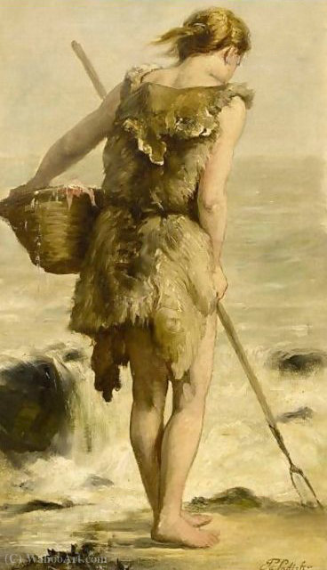 Shell Fisher de Philippe Lodowyck Jacob Sadee (1837-1904, Netherlands)