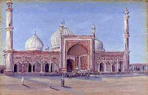 Marianne North - la grand mosqué de delhi , Indes . Novr . 1878