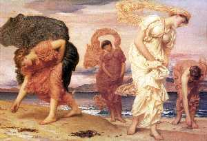 Lord Frederic Leighton - english greek girls picking up Cailloux par l' mer