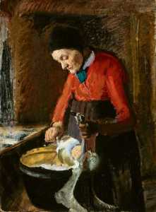 Anna Kirstine Ancher - gamle lene plukker fr Gaz english old lene Pincer une Oie