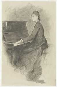 Achat Reproductions D'œuvres D'art | Au Piano, 1887 de Theodore Robinson (1852-1896, United States) | WahooArt.com