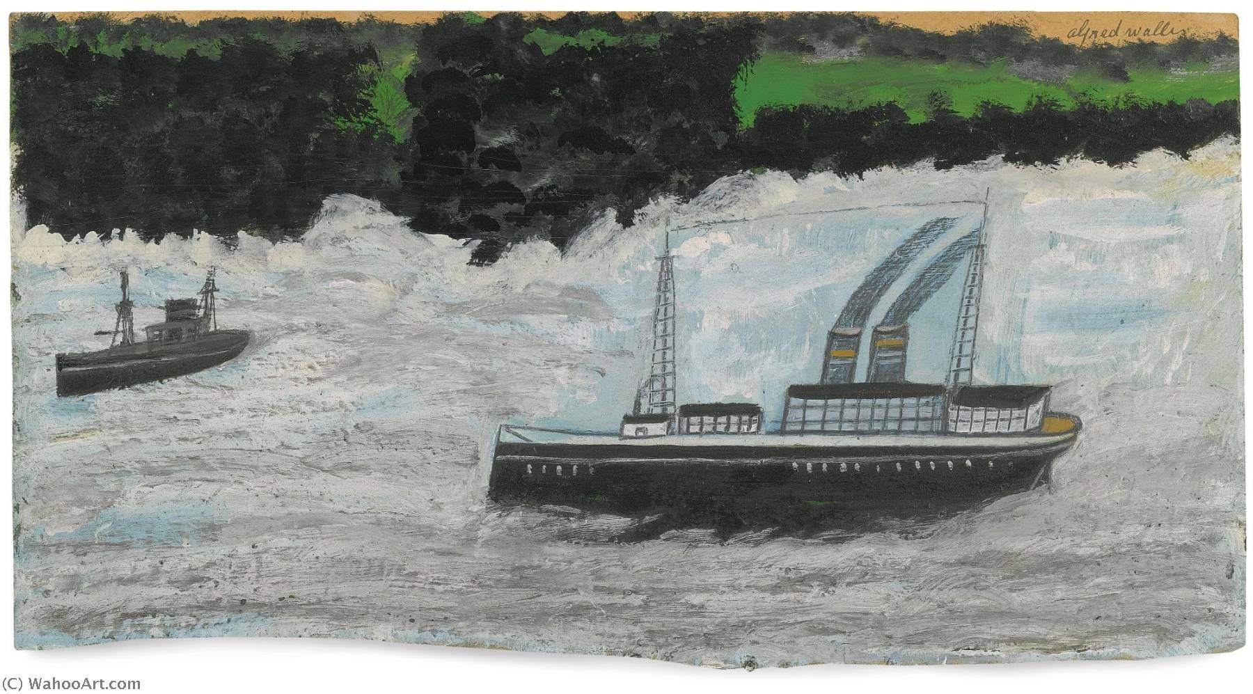 vapeur barque  de Alfred Wallis (1855-1942, United Kingdom) | Copie Tableau | WahooArt.com