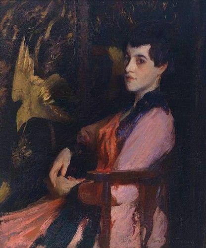 dame rose de Edmund Charles Tarbell (1862-1938, United States) | Reproductions D'œuvres D'art Edmund Charles Tarbell | WahooArt.com