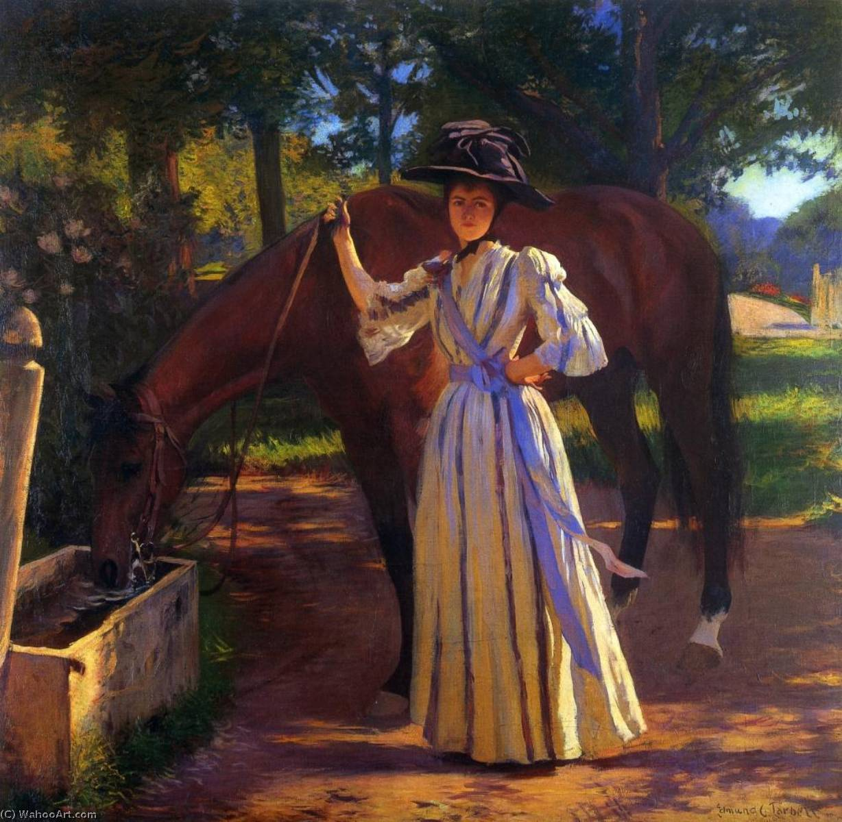 fille et cheval, 1892 de Edmund Charles Tarbell (1862-1938, United States) | Reproductions De Peintures Edmund Charles Tarbell | WahooArt.com