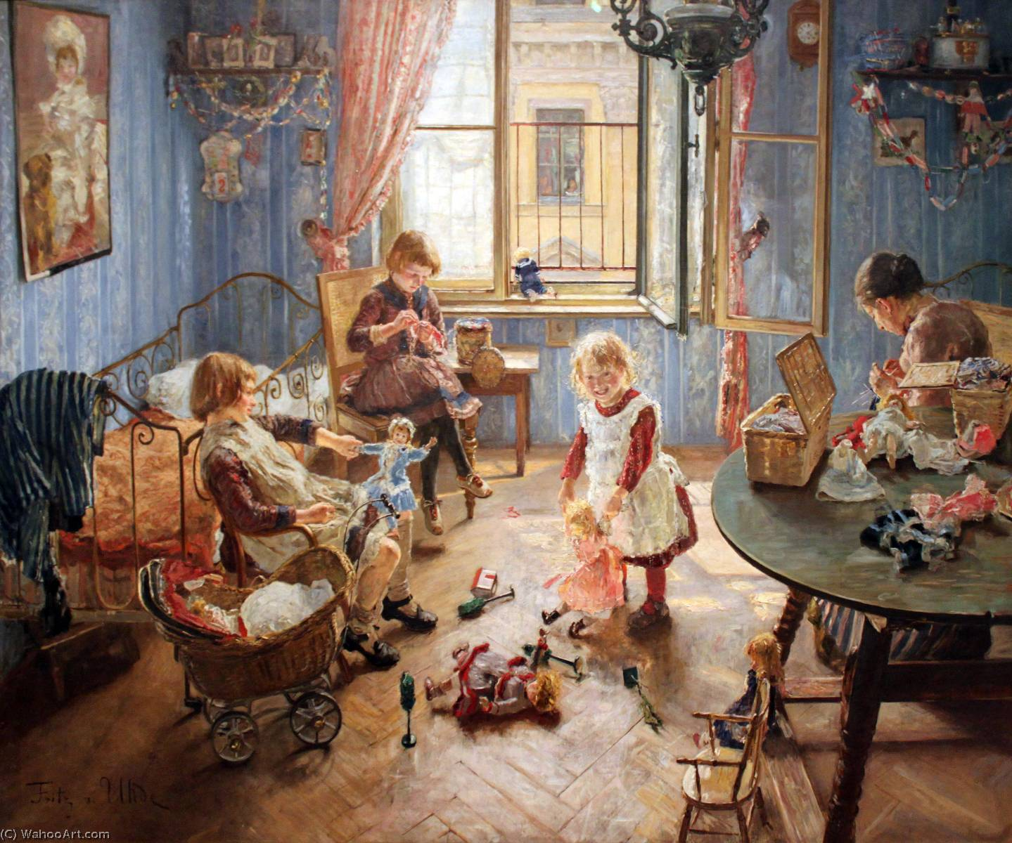 Anglais Children`s Garderie deutsch die kinderstube русский питомник, 1889 de Fritz Von Uhde (1848-1911) | Reproduction Peinture | WahooArt.com
