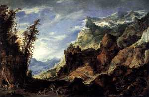 Joos De Momper The Younger - grand mont  Paysage