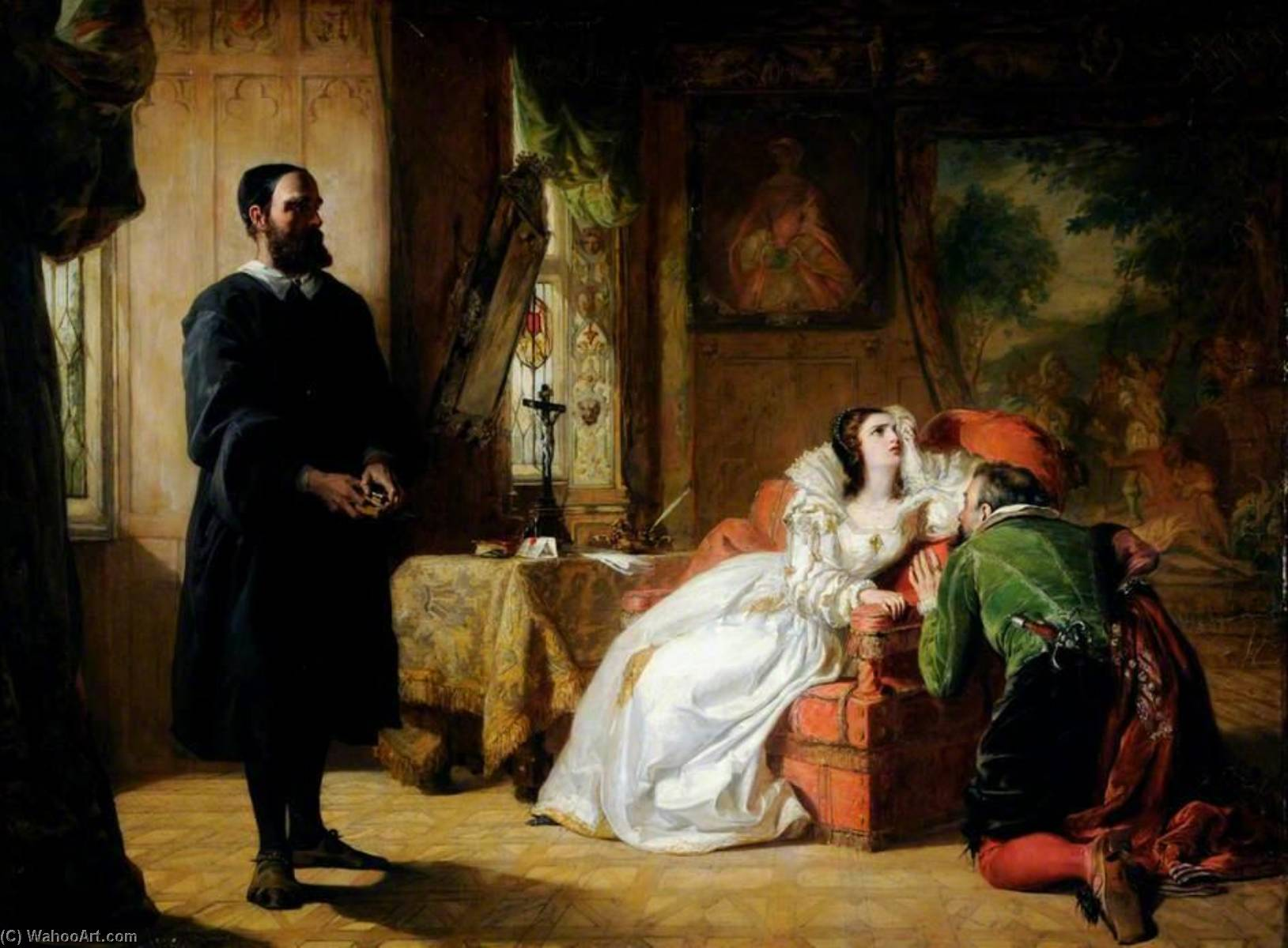 john knox réprimandant marie  reine  de  Écossais , 1844 de William Powell Frith (1819-1909, United Kingdom) | Reproductions D'art Sur Toile | WahooArt.com