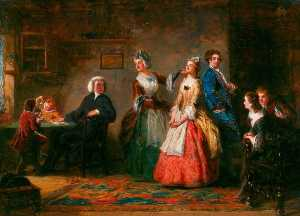 William Powell Frith - Mesure Hauteurs ( de oliver Goldsmith's 'The Curé de Wakefield' )