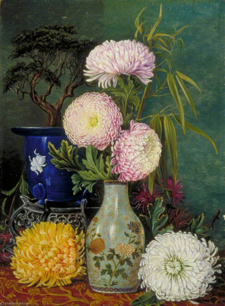 Étude des chrysanthèmes japonais et nain Pin, 1876 de Marianne North (1830-1890, United Kingdom) | Reproductions D'art Marianne North | WahooArt.com