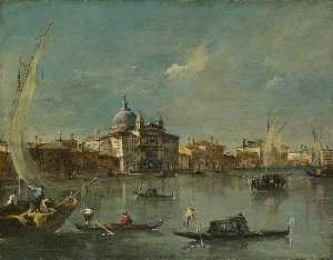 Francesco Lazzaro Guardi - venise la Giudecca avec l Zitelle