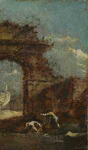 Francesco Lazzaro Guardi - Caprice Vue avec Ruines