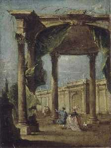 Francesco Lazzaro Guardi - DANS LA PROMENADE ONU DÉCOR D'ARCHITECTURE