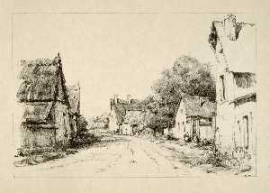 Herman Armour Webster - La rue du village de change pres de maintenon