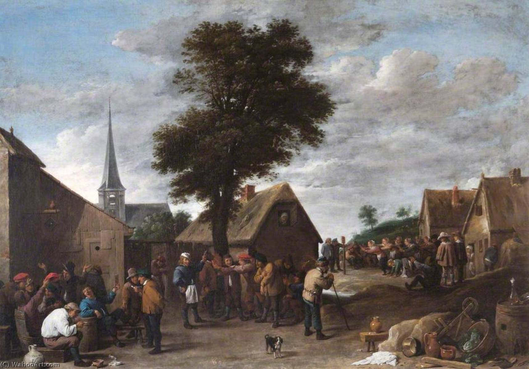 un flemish localité  fête , 1639 de David The Younger Teniers (1610-1690, Belgium) | Reproductions D'œuvres D'art David The Younger Teniers | WahooArt.com
