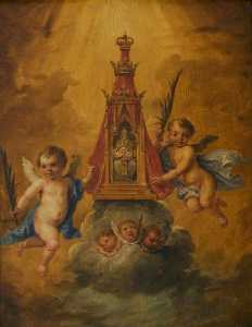 David The Younger Teniers - Deux anges la tenue  une  sanctuaire