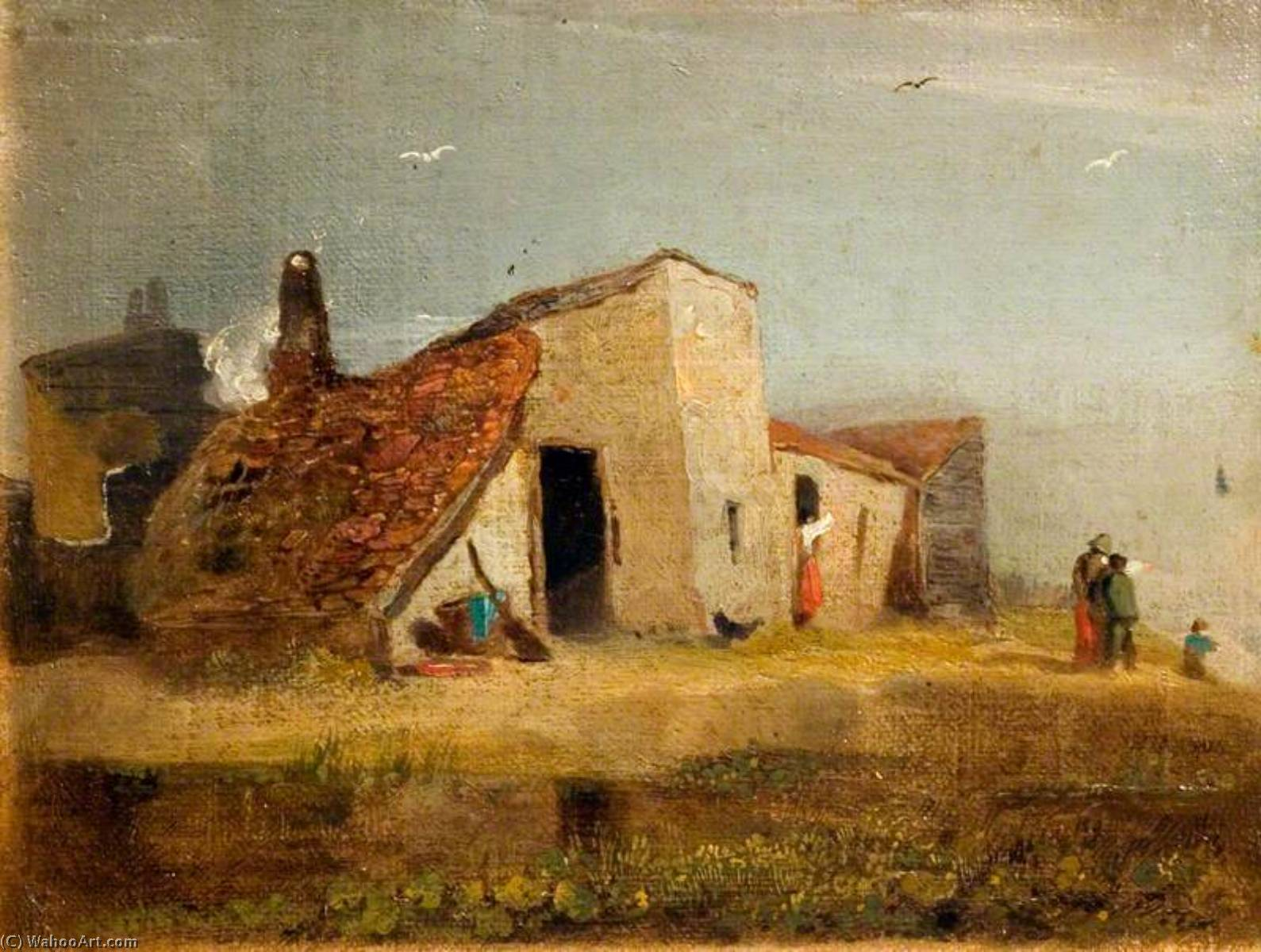 Chalets sur  au  côte , Huile de William Mulready The Younger (1786-1863, Ireland)