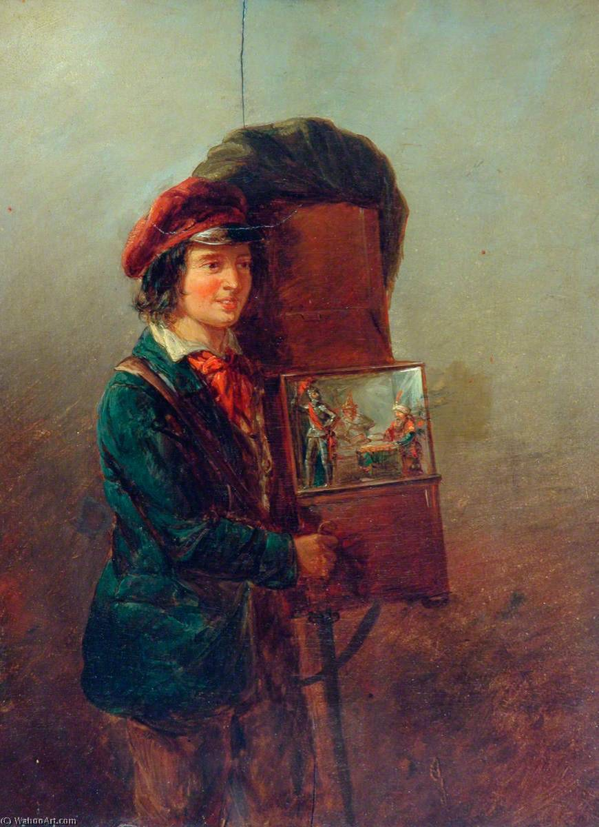 Le Organ Grinder, Huile sur panneau de William Mulready The Younger (1786-1863, Ireland)
