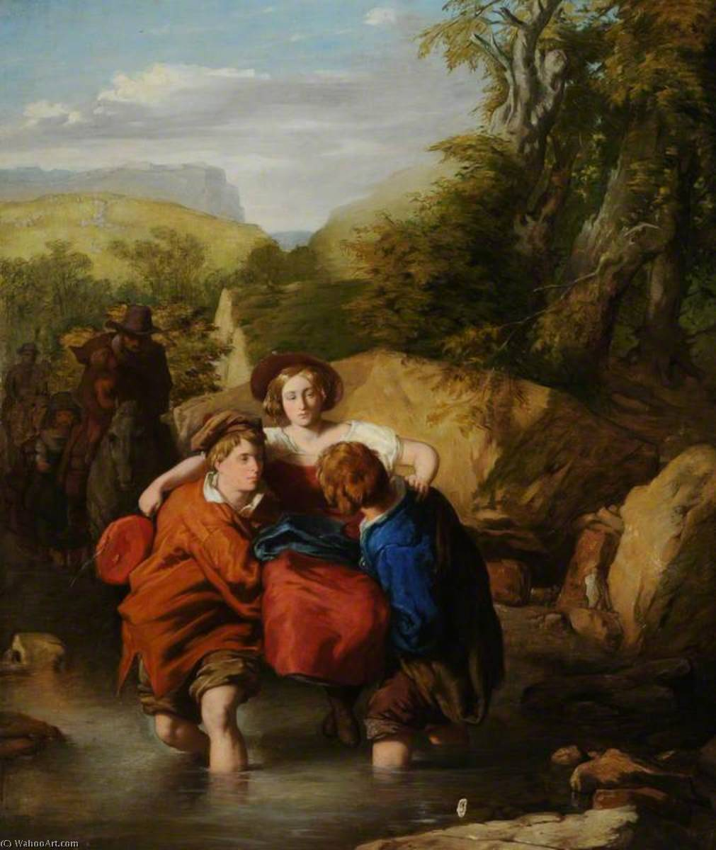 Traversée de la Ford, huile sur toile de William Mulready The Younger (1786-1863, Ireland)