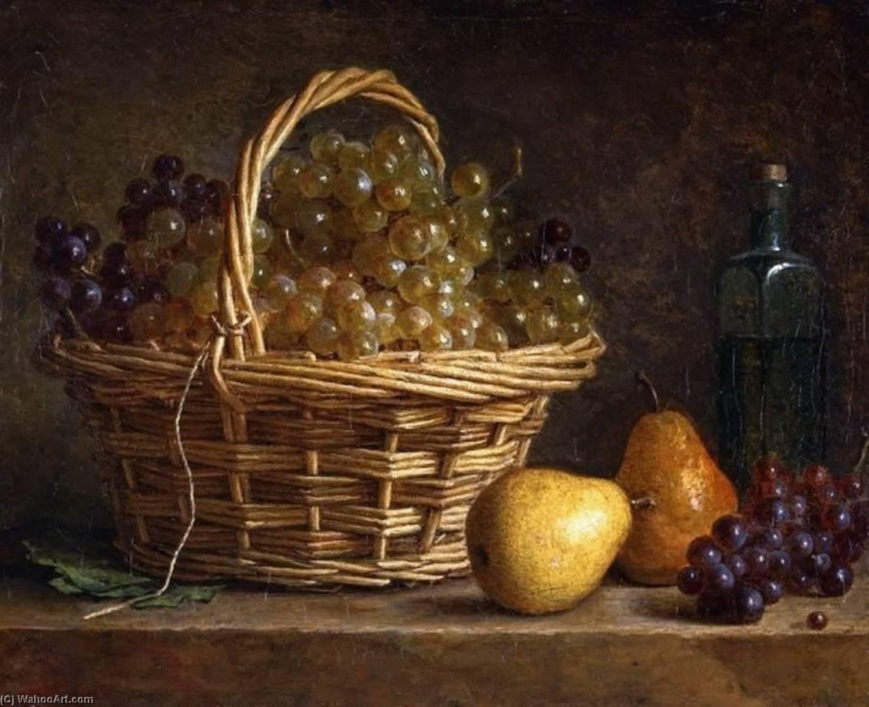 nature morte avec panier de raisins et bouteille du vin huile sur toile de henri horace roland. Black Bedroom Furniture Sets. Home Design Ideas