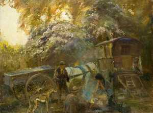 Alfred James Munnings - une Gitan  Feu de camp