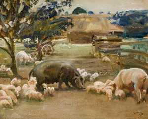 Alfred James Munnings - Porcs great Thurlow , Suffolk