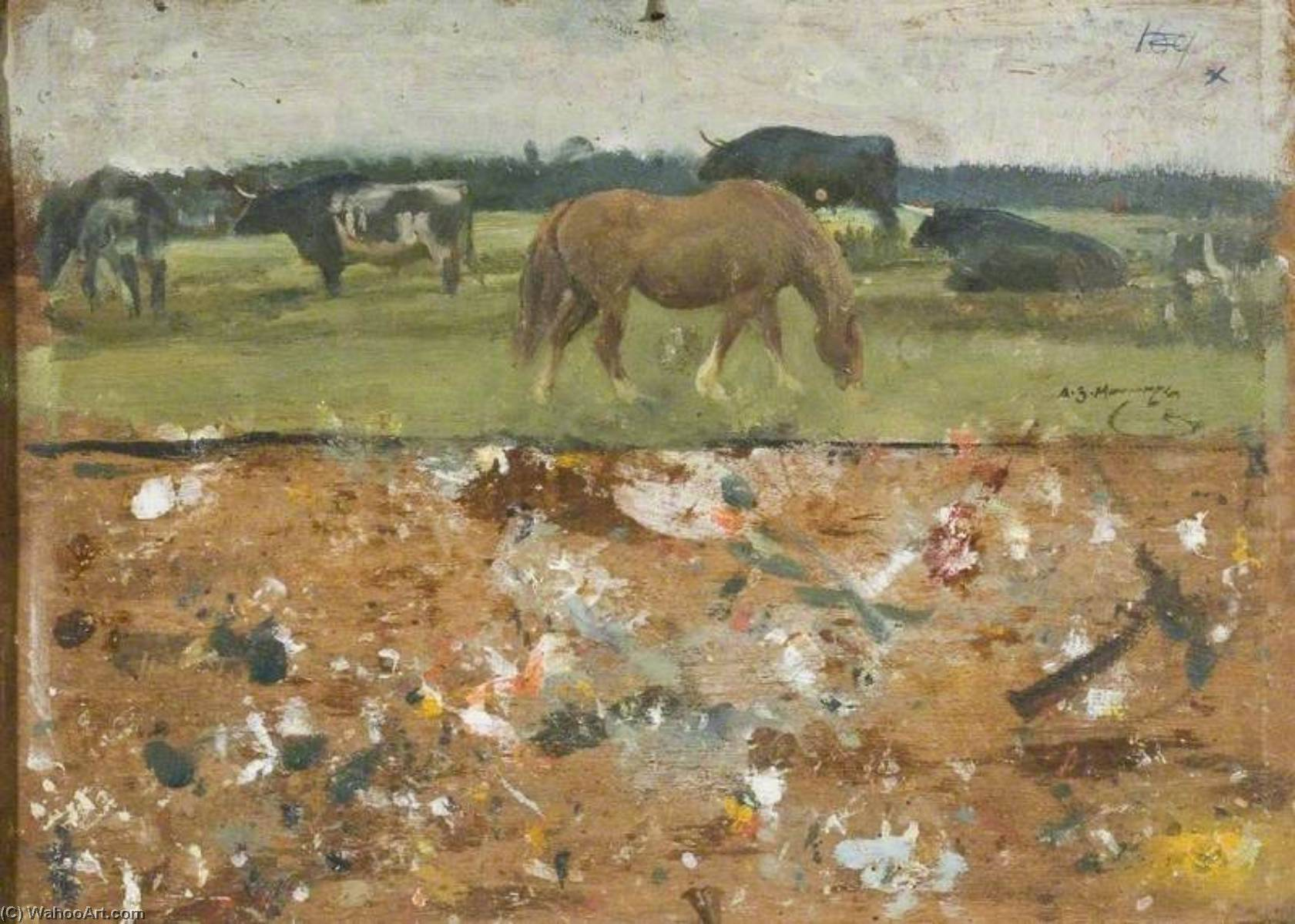 étude des a cheval et bullocks Pâturage ( verso ), Huile de Alfred James Munnings (1878-1959, United Kingdom)