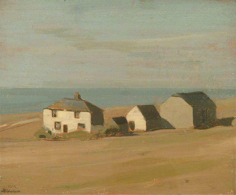 Judd's Ferme, Huile sur panneau de William Newzam Prior Nicholson (1872-1949, United Kingdom)