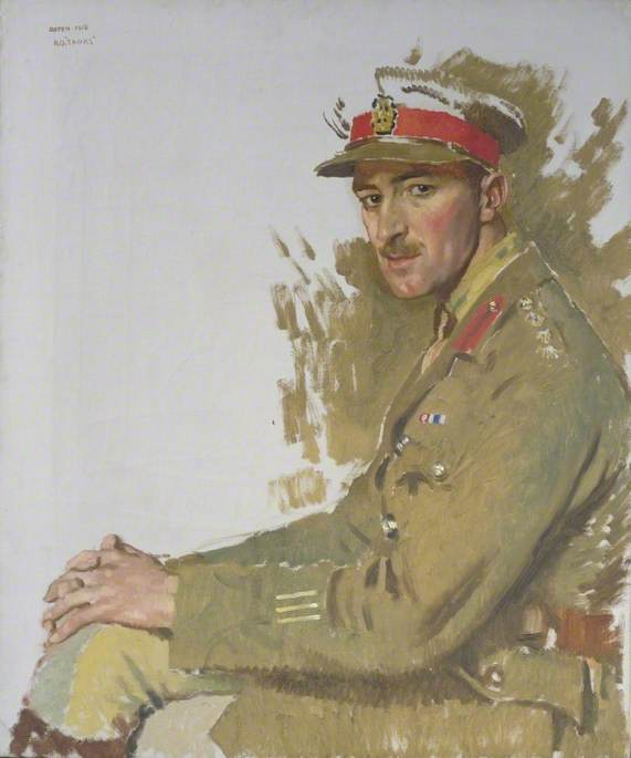 major f . E . Hotblack , DSO , MC, huile sur toile de William Newenham Montague Orpen (1878-1931, Ireland)