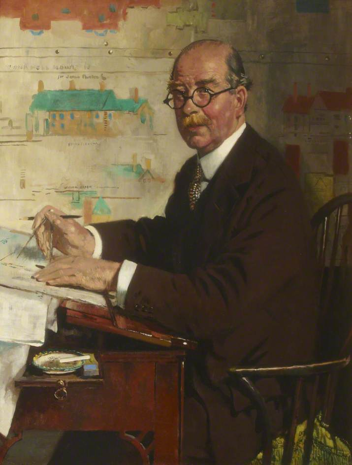 Monsieur guy dawber , PRIBA , RA , FSA , RGM, huile sur toile de William Newenham Montague Orpen (1878-1931, Ireland)