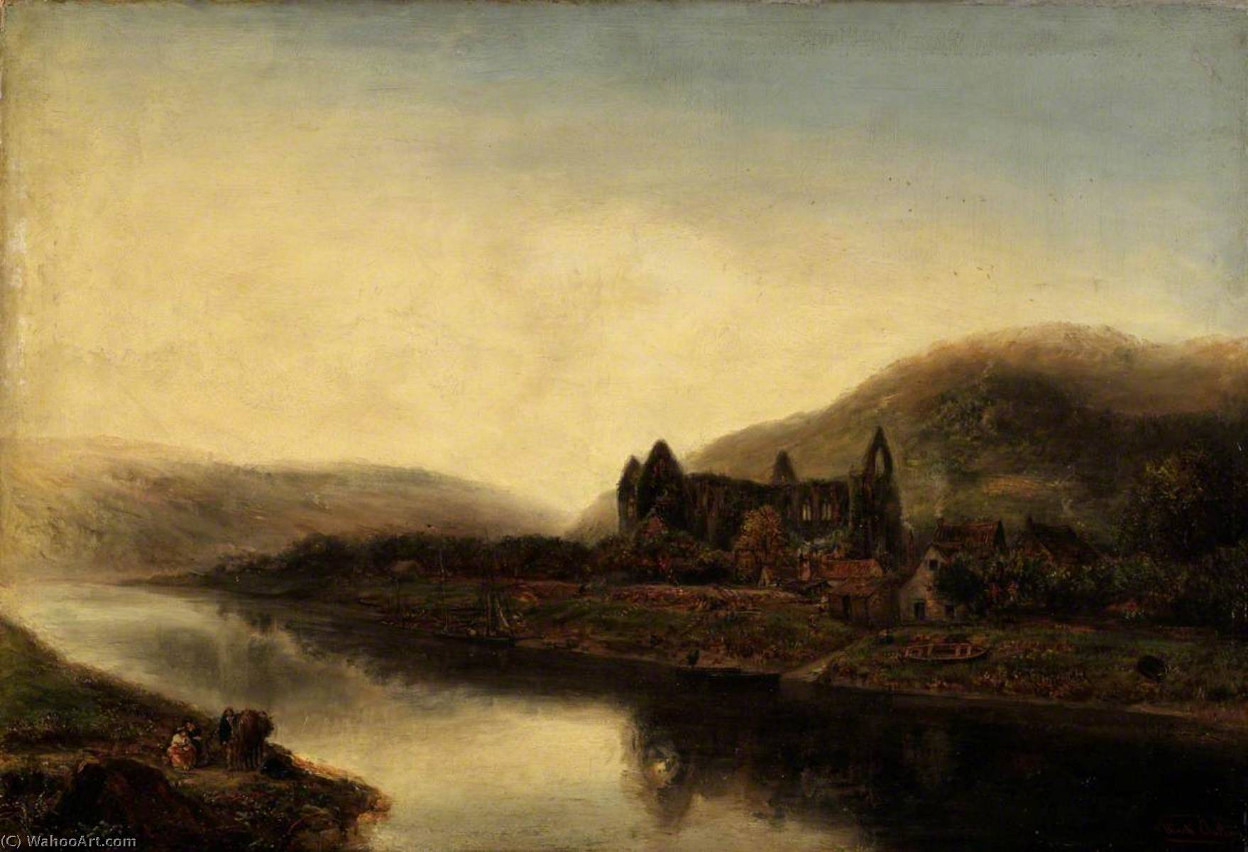 Tintern Abbaye, huile sur toile de Henry Mark Anthony (1817-1886)