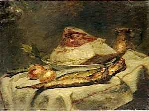 Adolphe Félix Cals - NATURE MORTE , SAINDOUX ET HARENGS