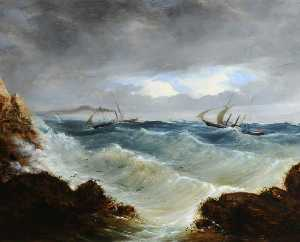 Philip John Ouless - Sauvetage de RMS 'Dispatch' par hms 'Dasher' , 17 Octobre 1853