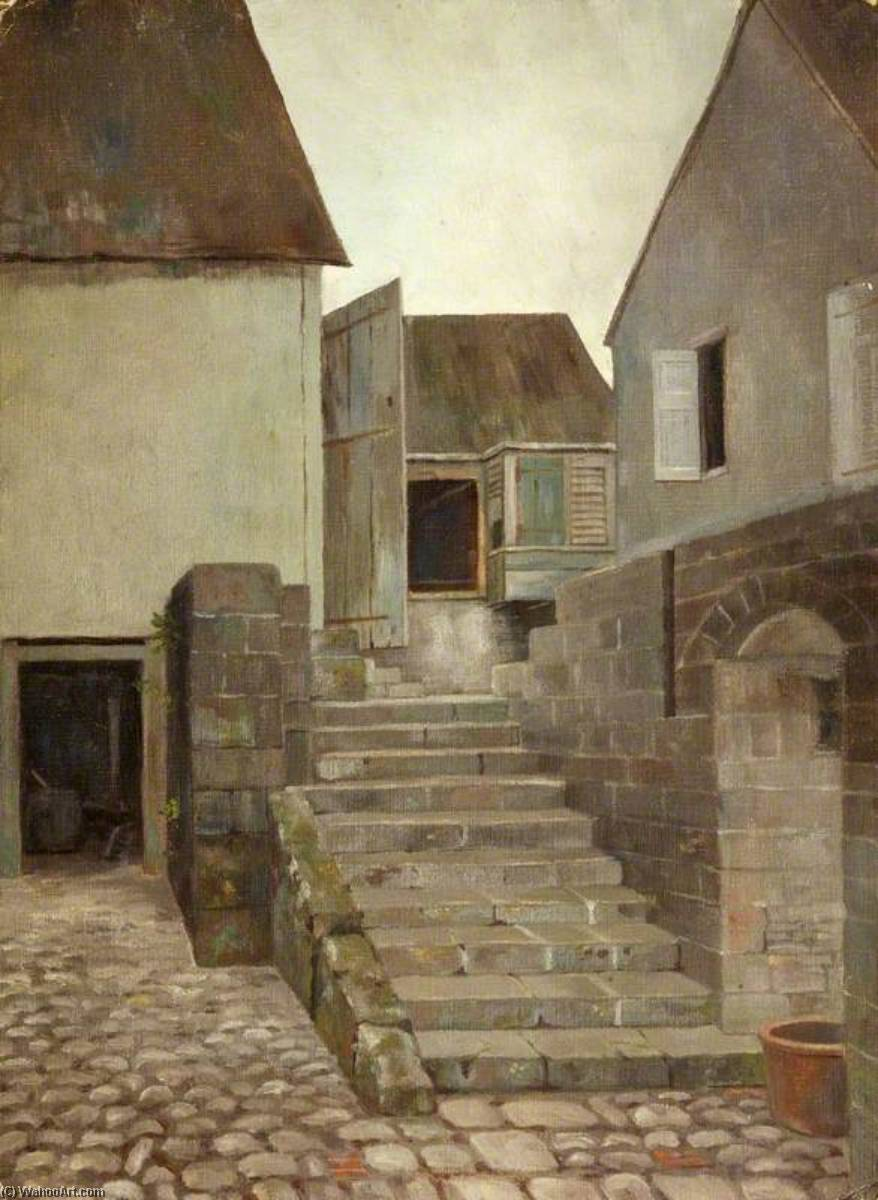 Immeuble , Christchurch , St Kitts, Huile de Charles Paget Wade (1883-1956, United Kingdom)