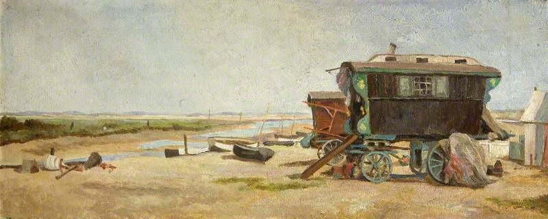 'Wonderful Love' , la caravane de Walter Gris de King's Lynn , au Blakeney, Huile de Charles Paget Wade (1883-1956, United Kingdom)
