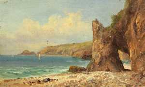 Charles Paget Wade - une plage  avec  rouge  falaises