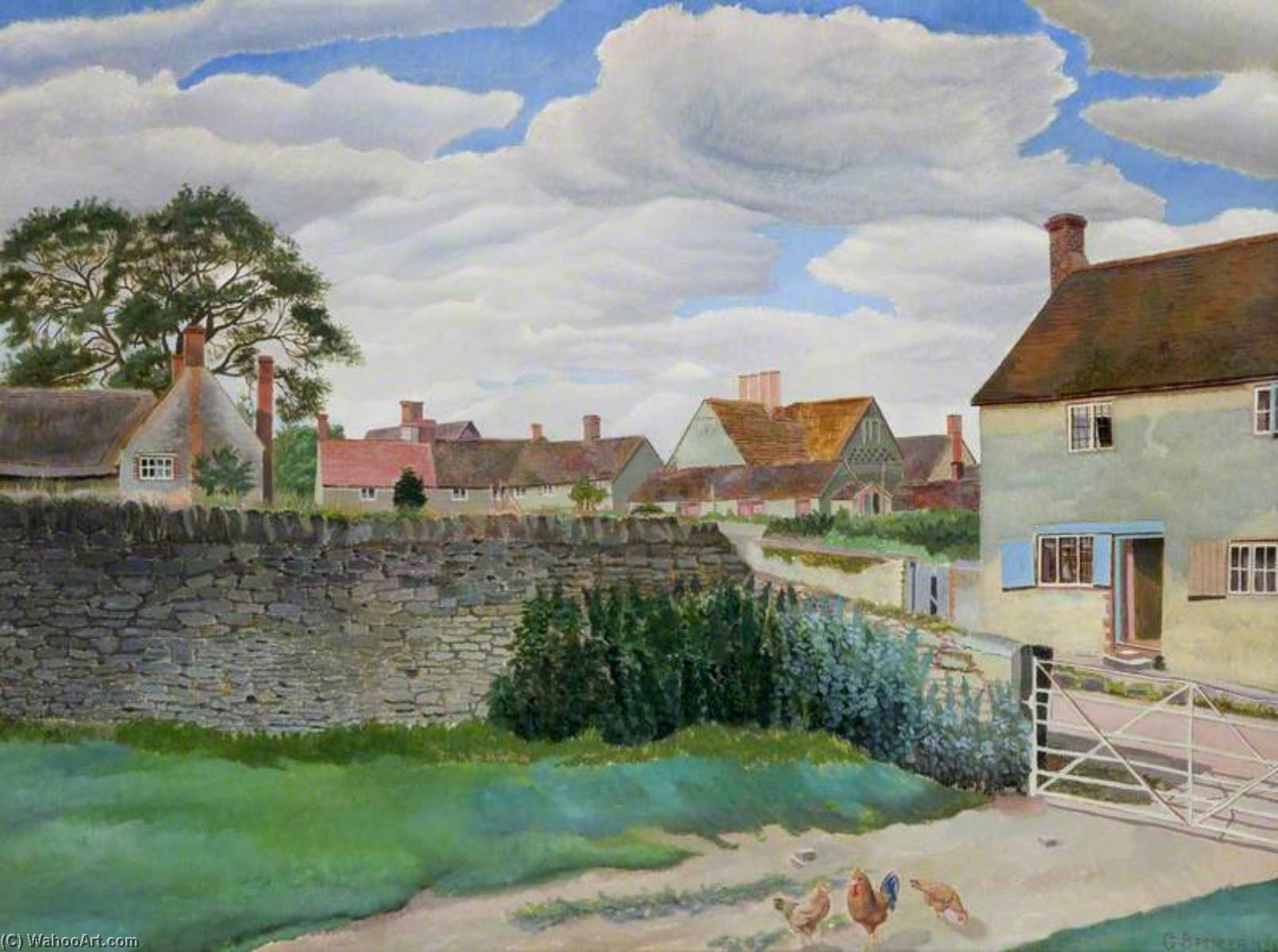 Peu milton près de garsington , 1926 de Gilbert Spencer (1892-1979, United Kingdom) | Copie Tableau | WahooArt.com