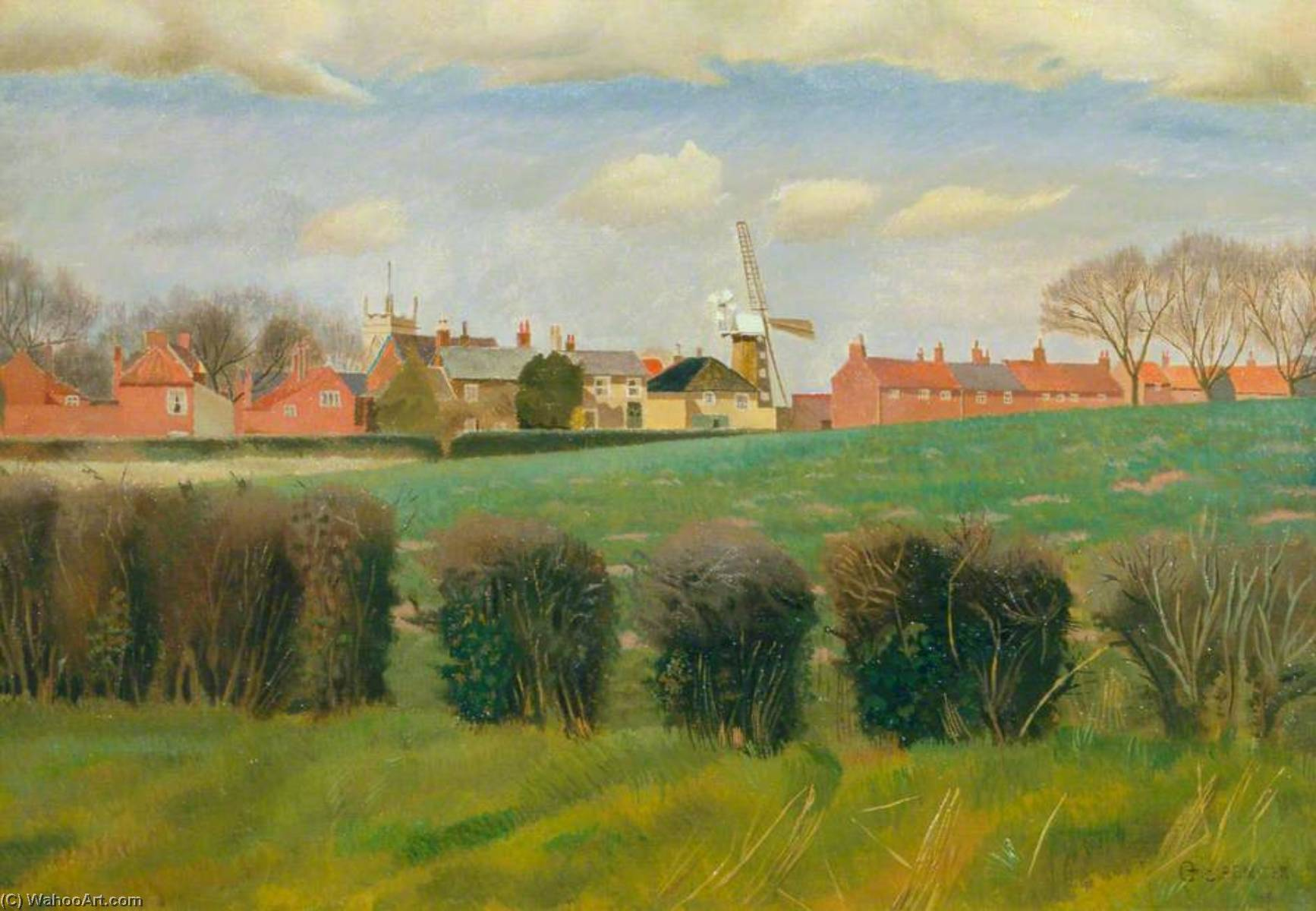 Wangford, huile sur toile de Gilbert Spencer (1892-1979, United Kingdom)