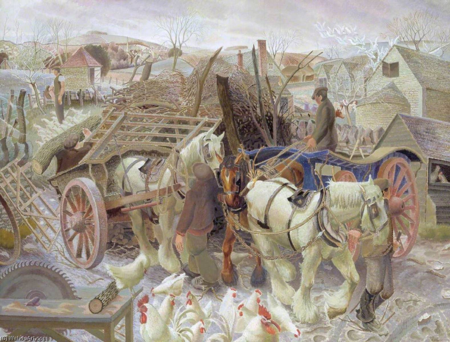 Une Cotswold Ferme, 1930 de Gilbert Spencer (1892-1979, United Kingdom) | Reproduction Peinture | WahooArt.com