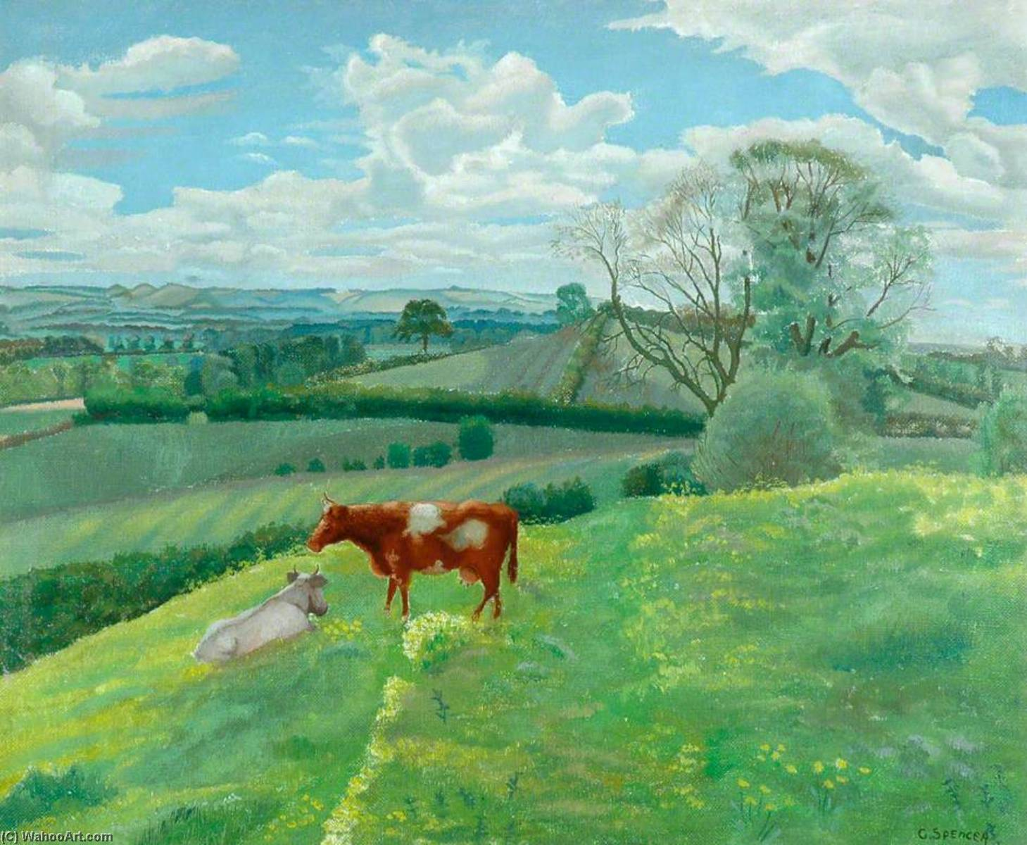 paysage avec vaches de Gilbert Spencer (1892-1979, United Kingdom) | WahooArt.com