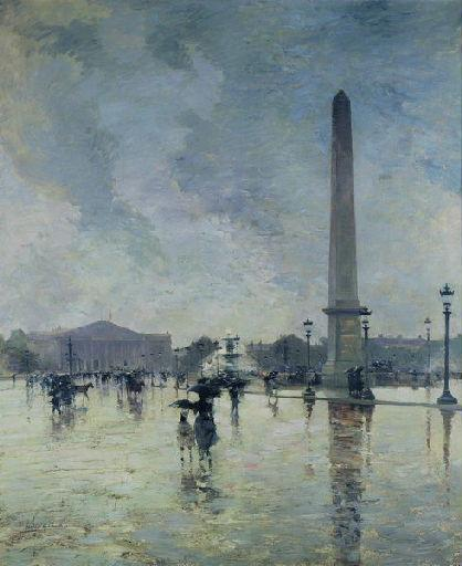 Achat Reproductions D'œuvres D'art | L`Averse ( Place de la Concorde ) de Smith Alfred (1853-1936, France) | WahooArt.com