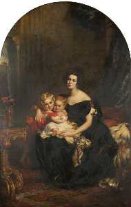 John Partridge - elizabeth acton ( ré . 1850 ) , lady throckmorton avec deux delle Enfants , courtenay throckmorton ( 1831–1854 ) , et mary elizabeth throckmorton ( 1832–1919 )