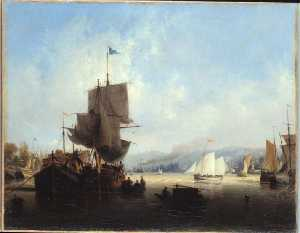 Ambroise Louis Garneray - Marins aux voiles brunes