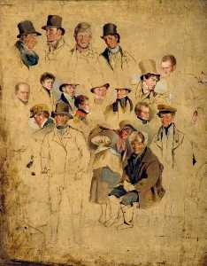 Henry Perlee Parker - Caricatures issus 'The Cullercoats Party'
