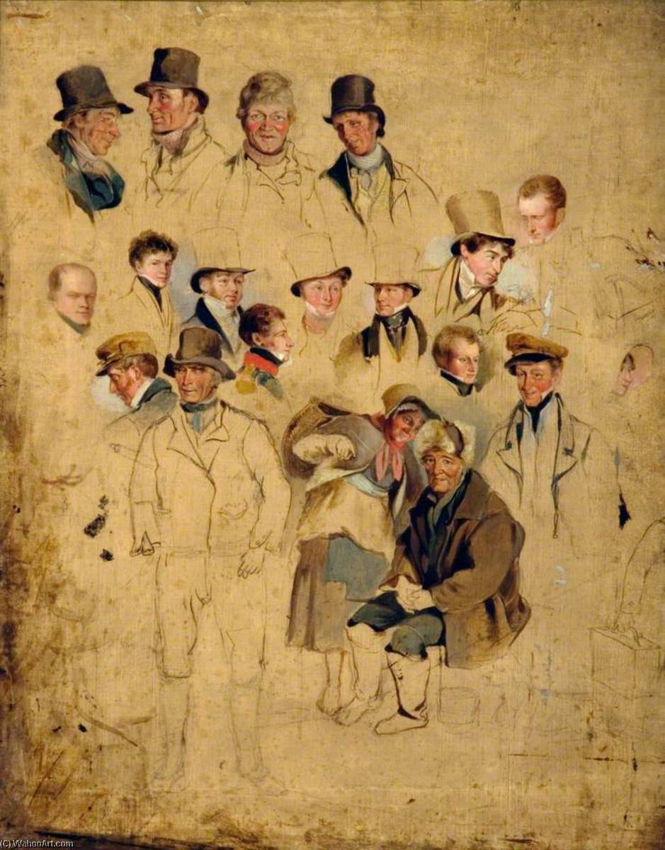 Caricatures issus 'The Cullercoats Party', huile sur toile de Henry Perlee Parker