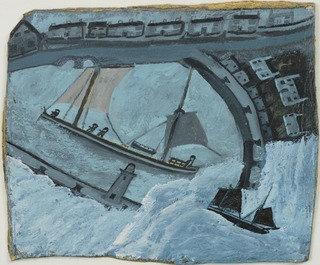 St . Ives Port, Huile de Alfred Wallis (1855-1942, United Kingdom)