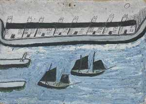 Alfred Wallis - Maisons à le Water's Bord ( Porthleven )