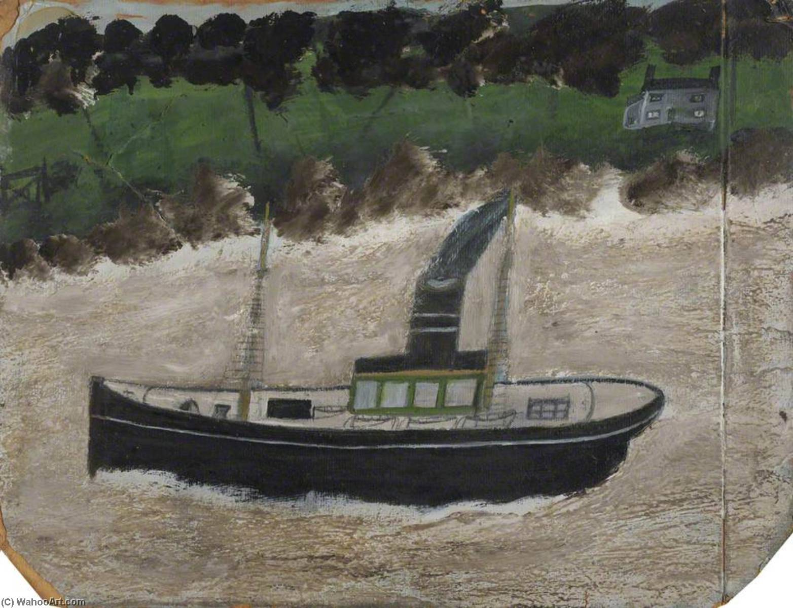 Coaster par un Shore with une maison, Huile de Alfred Wallis (1855-1942, United Kingdom)
