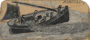 Alfred Wallis - Bateau avec fishermen letting out nets , PZ11 , le 'Flying Scud'